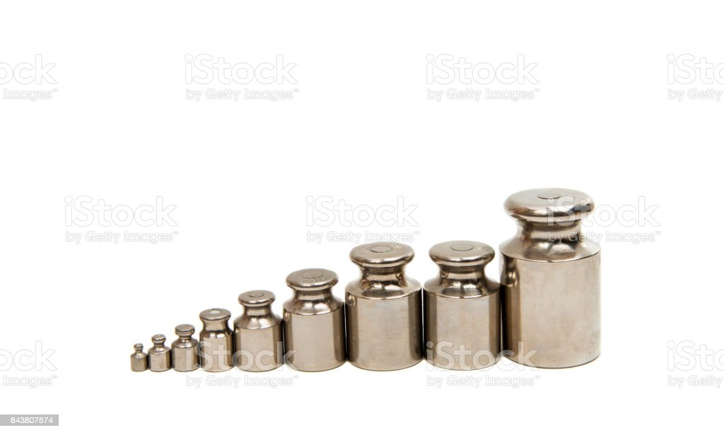 calibration weight set isolated stock photo