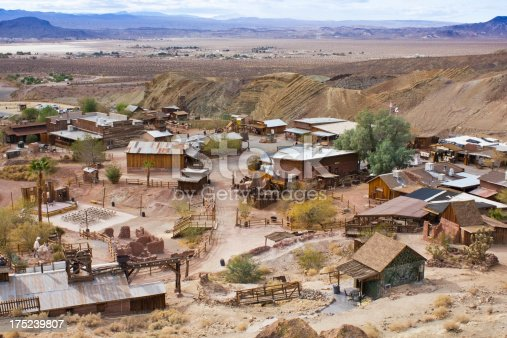 Photo of Calico Ghost Town. Viewed of above the mountain.