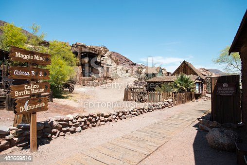 Calico, California, United States - May 21, 2015: View at the main street in the Calico ghost town in the desert of California very close to Nevada. Calico is an old west mining touristic village that has been around since 1881. Image taken during daytime.