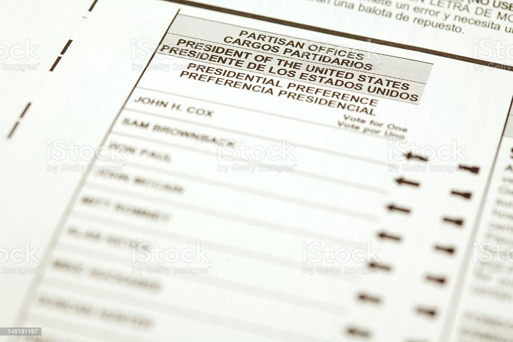 California 2008 Primary Ballot stock photo