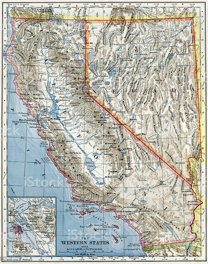 California And Nevada Map 1883 Stock Photo - Download Image Now - iStock