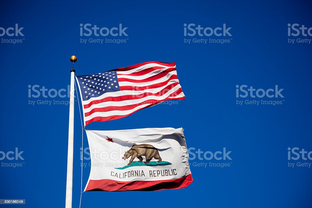 California and USA Flags on Wind stock photo