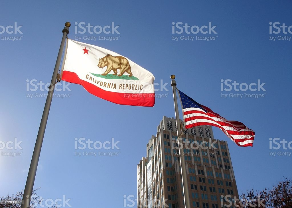 California and U.S.A. flags stock photo