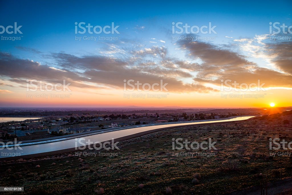 California Aqueduct Glistens At Dawn, Palmdale California, Antelope Valley stock photo