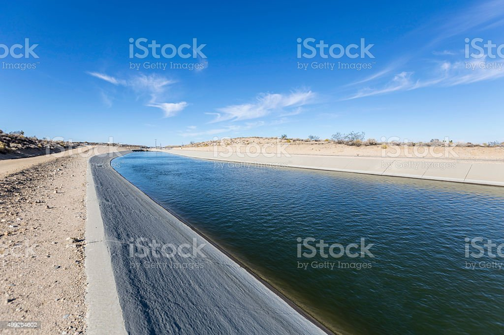 California Aqueduct in the Mojave Desert stock photo