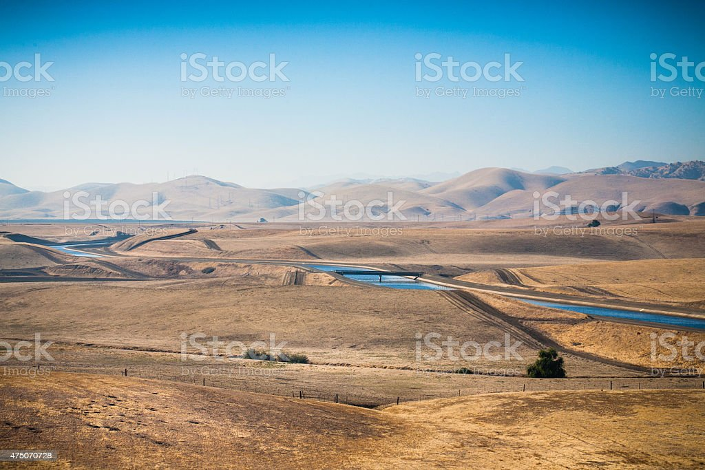 California Aqueduct Vista Point, Stanislaus County, Drought Conditions stock photo