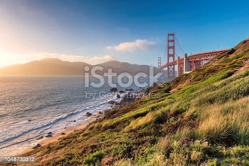 Golden Gate Bridge at sunset, San Francisco, California.