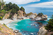 Beautiful Beach and Falls, Julia Pfeiffer Beach, McWay Falls, Big Sur, California