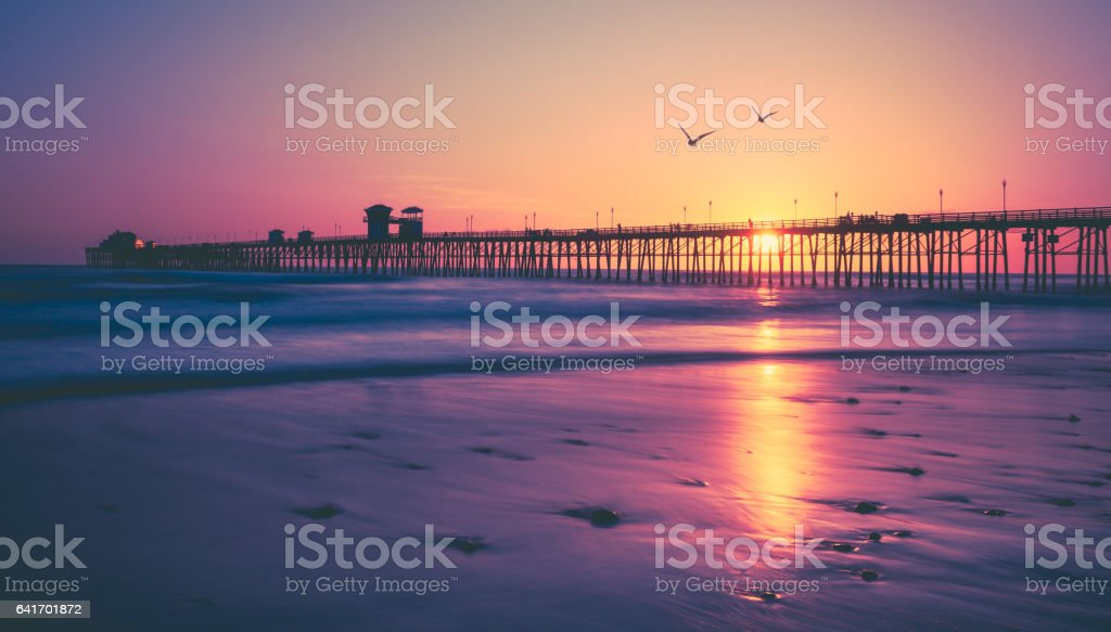 California Beach Sunset stock photo