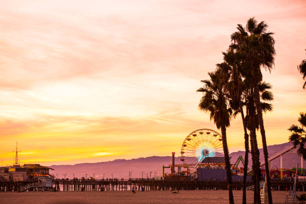 California beautiful sunset in Santa Monica - Los Angeles stock photo