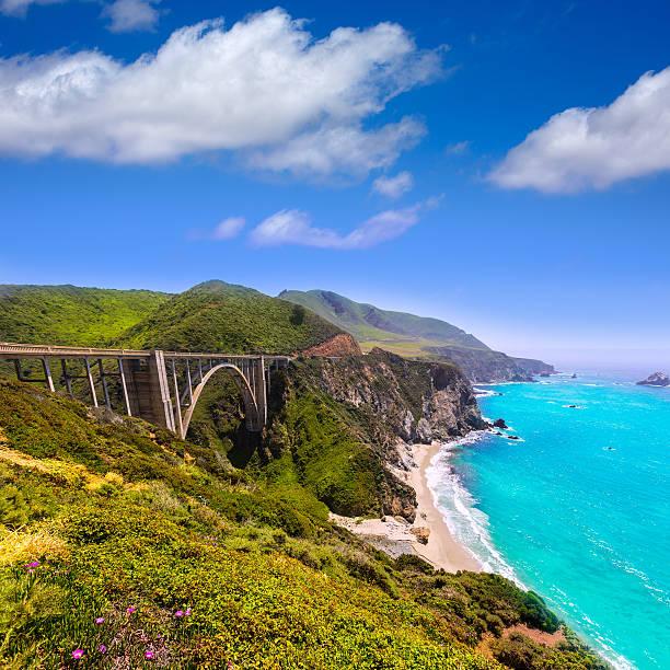 California Bixby bridge in Big Sur Monterey County stock photo
