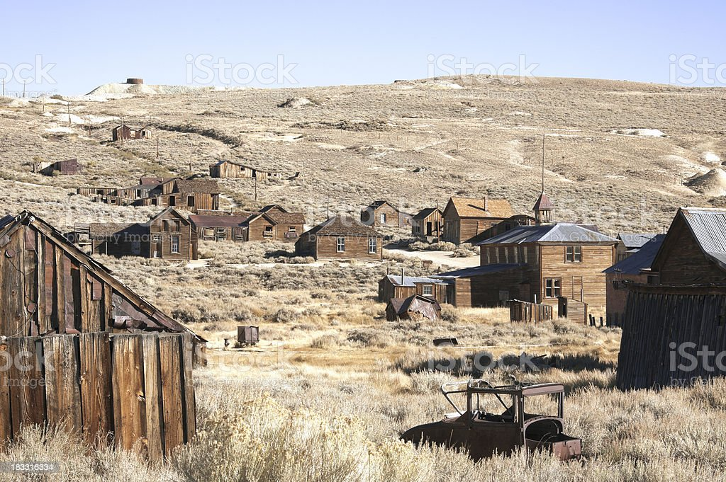 California: Bodie State Historic Park, Group of Buildings stock photo