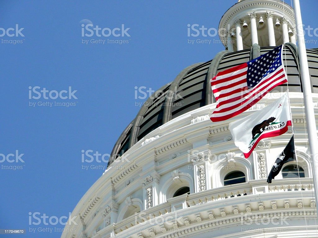 California Capitol Dome with Moon stock photo