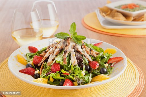 freshly made chicken and fruit salad