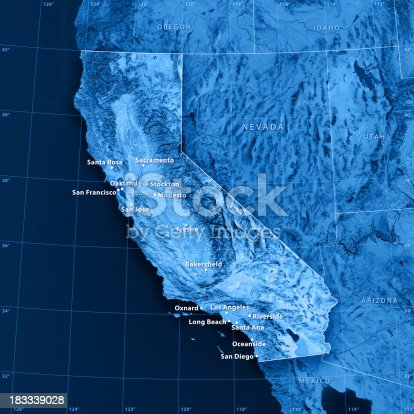 istock California Cities Topographic Map 183339028