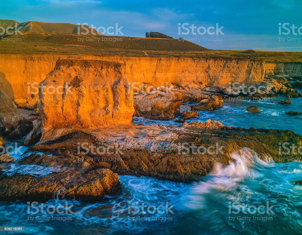 California Coast shoreline at Montana De Oro State Park, CA stock photo