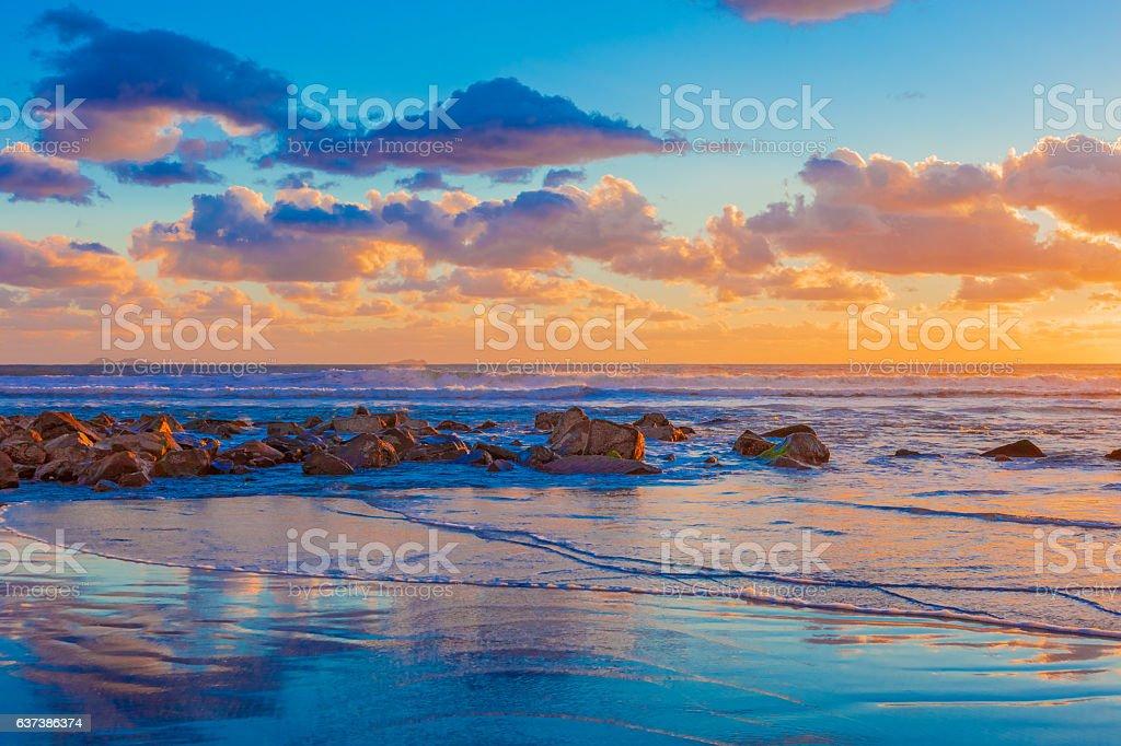 California coast shoreline sunset at Coronado Beach San Diego stock photo