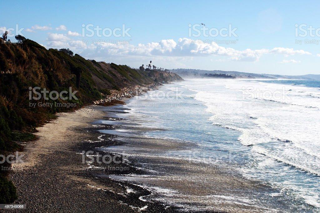 California Coast With Cliffs - Swamis Beach El Nino stock photo