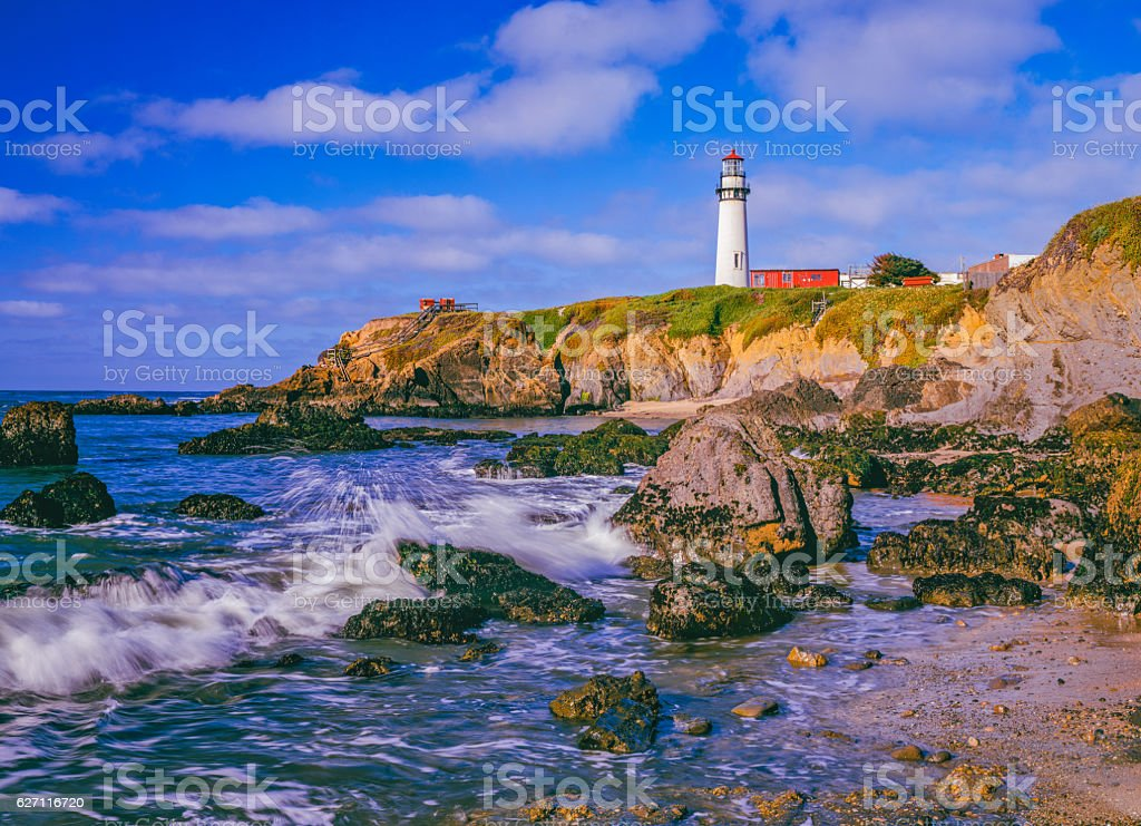 California coast with Pigeon Point Lighthouse stock photo