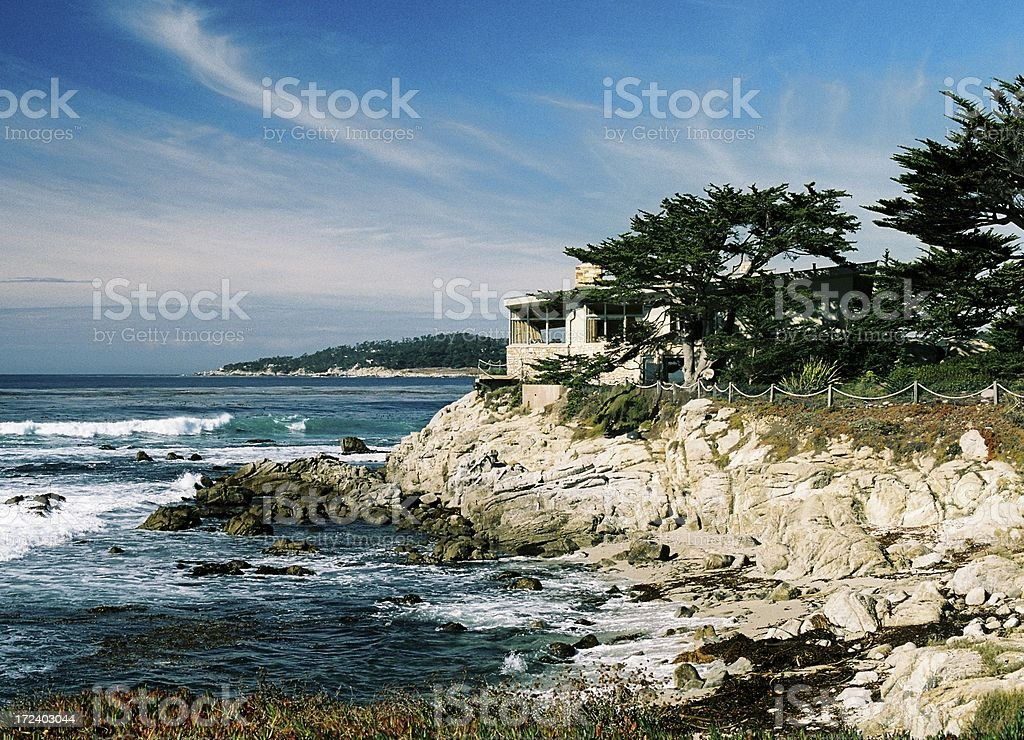 California coastal Beach Pacific ocean front mansion House royalty-free stock photo