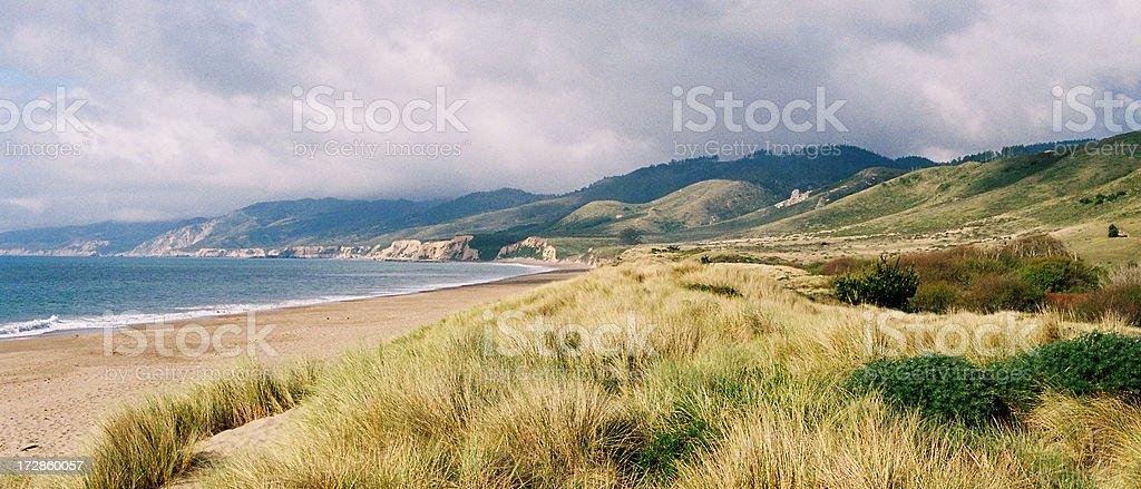 California coastal beach scene panorama stock photo