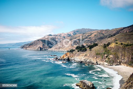 View of the Bixby Bridge on the Big Sur coast, California