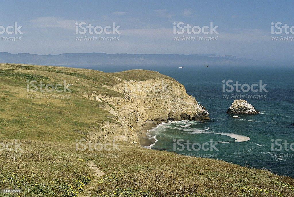 California Coastal scene and hiking trail stock photo