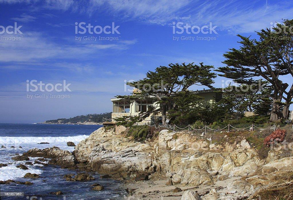 California Coastal scene and home royalty-free stock photo