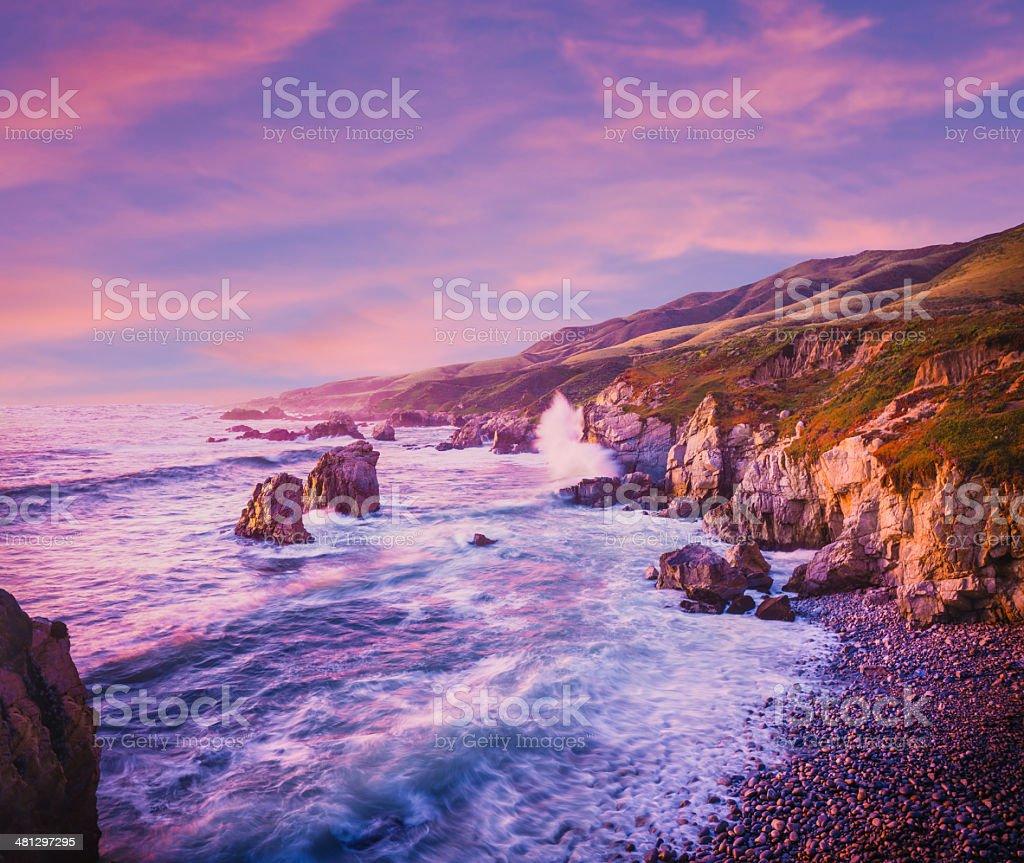 California coastline at dusk stock photo