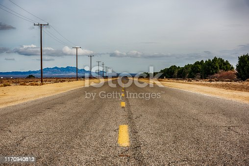 Long stretch of Route 66 in eastern San Bernadino County, California.