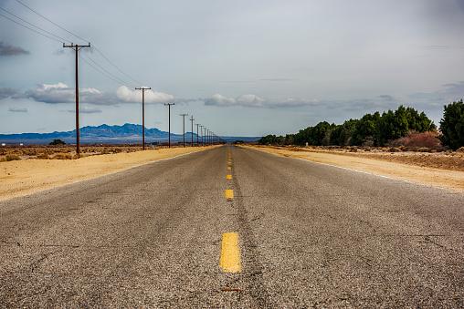 Long stretch of Route 66 in eastern San Bernadino County, California.