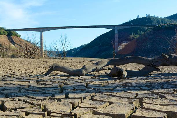 california drought - under new melones bridge on dry lakebed - 2015 stok fotoğraflar ve resimler