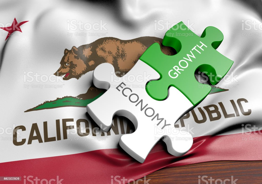 California economy and financial market growth GDP concept, 3D rendering stock photo