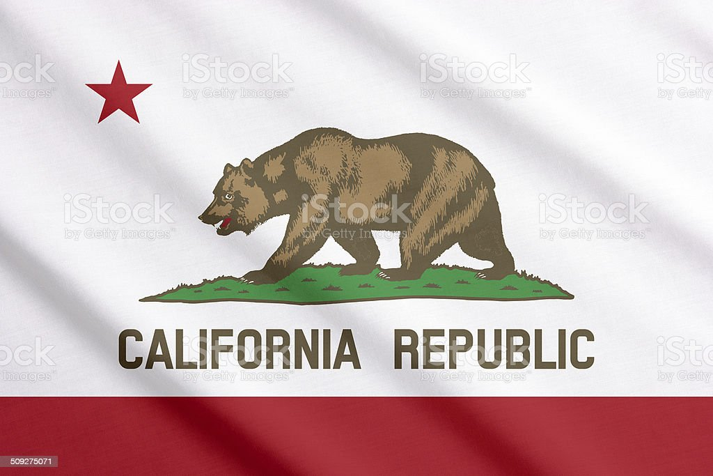 California flag waving stock photo
