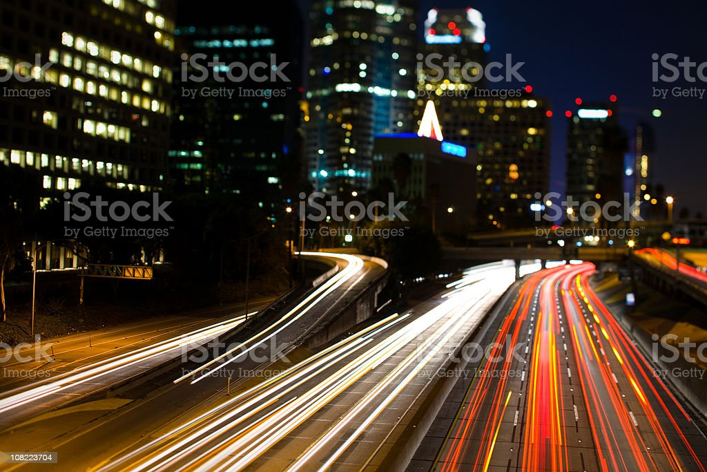 California Freeway at Night with Car Lights royalty-free stock photo