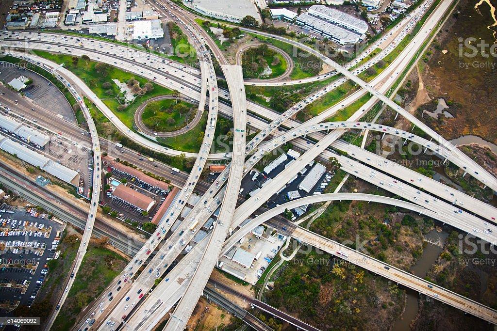California Freeway Interchage - San Diego stock photo