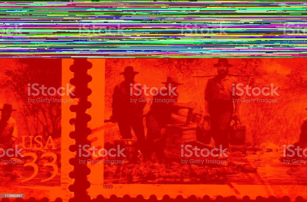 California gold rush stamp, Sutter's Mill stock photo
