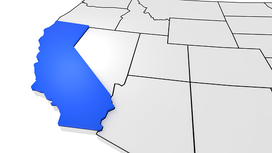 istock California highlighted on 3D map 1066084618