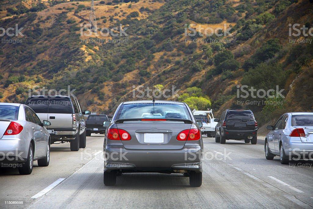 california highway traffic jam scene stock photo