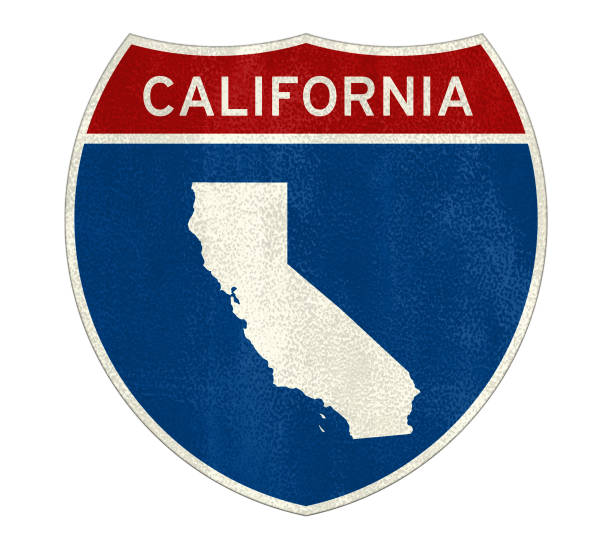 California Interstate road sign map California Interstate road sign map california map stock pictures, royalty-free photos & images