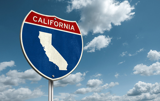 California - Interstate roadsign illustration with the map of California