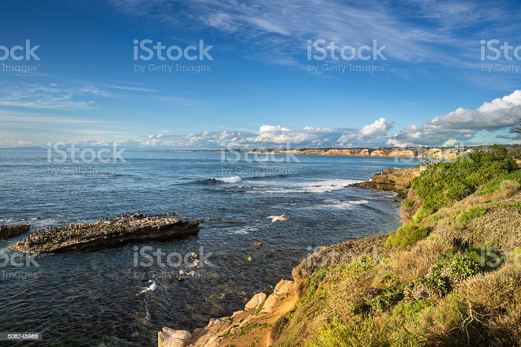 USA, California, La Jolla, Coastline and sea stock photo