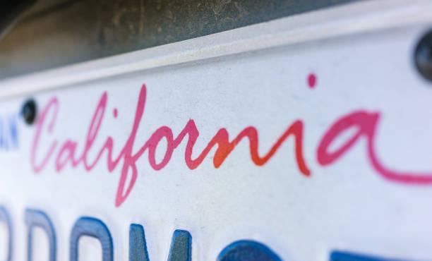 California license plate close-up stock photo