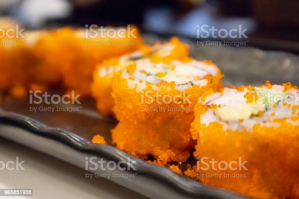 California Maki Sushi Roll On Black Plate Japanese Food Stock Photo - Download Image Now
