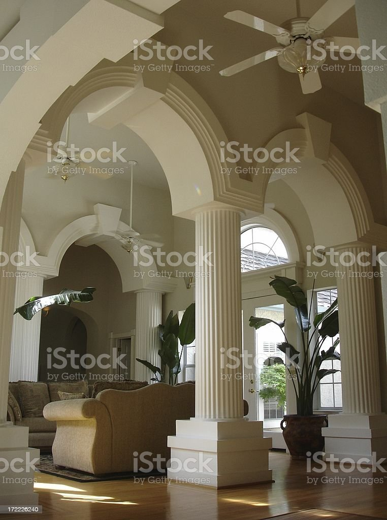 California mansion living room and foyer royalty-free stock photo