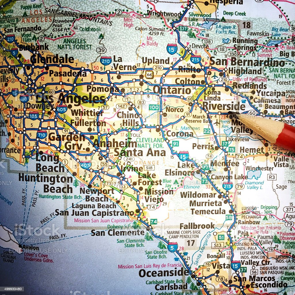 California Map With San Bernardino And Los Angeles Stock Photo - Map of san bernardino county