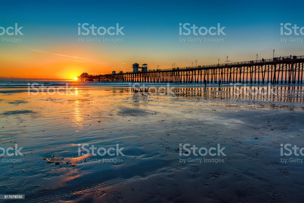 California Pier at Sunset stock photo