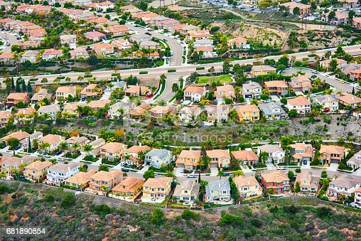 An aerial view of a generic planned residential community in Southern California.  This image was shot over Carlsbad, California during a photo flight of the region.
