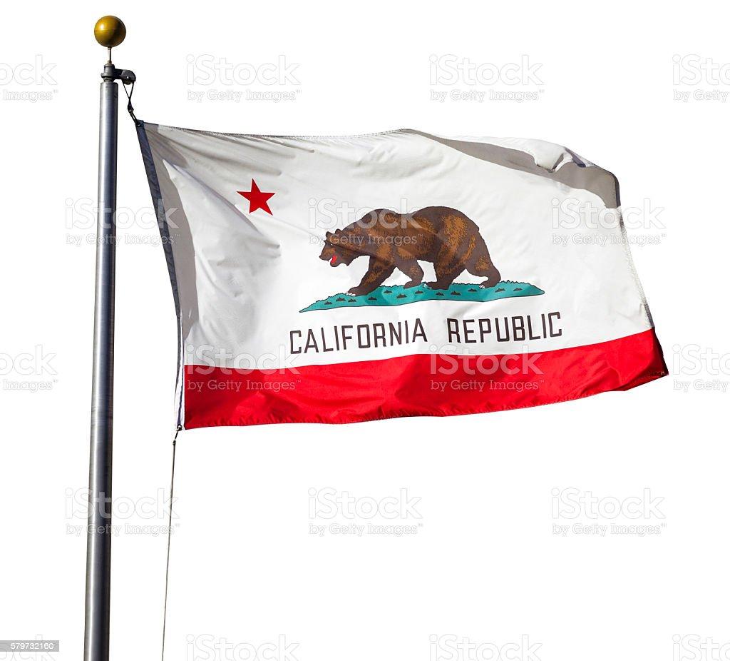 California Republic flag on white stock photo
