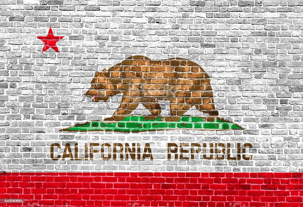 California Republic US flag painted on old vintage brick wall stock photo